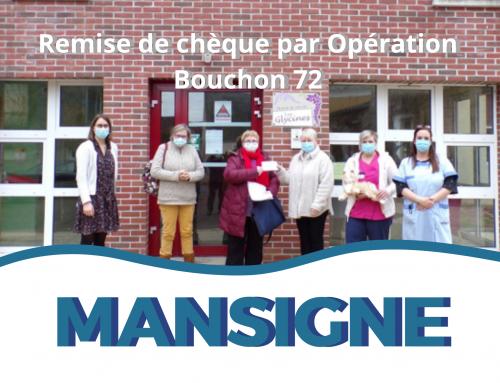 Remise de Chèque par l'association Opération Bouchon 72